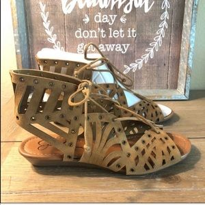 Jessica Simpson tie leather wedge sandal